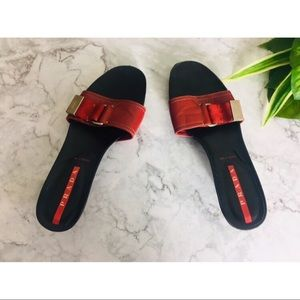 Prada red black sandals size 7